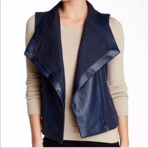 Love token linen vegan leather vest navy